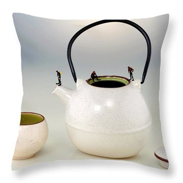 Diving On Tea Pot And Cup Throw Pillow by Paul Ge