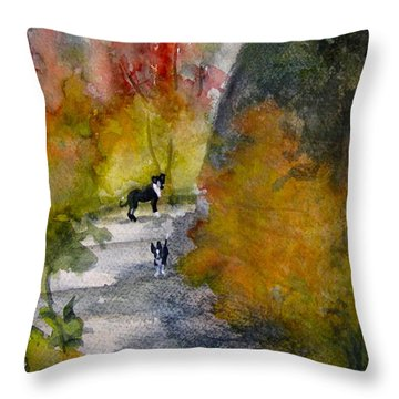 Dixie And Jackie Throw Pillow by Gretchen Allen