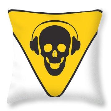 Dj Skull On Hazard Triangle Throw Pillow by Pixel Chimp