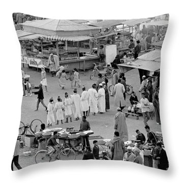 Throw Pillow featuring the photograph Djemaa El Fna Marrakech Morocco by Tom Wurl