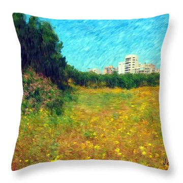 Throw Pillow featuring the photograph Do-00479 Bois Des Pins - Impressionist by Digital Oil