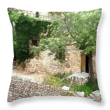 Throw Pillow featuring the photograph Do-00486 Old House From Citadel by Digital Oil