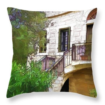 Throw Pillow featuring the photograph Do-00490 Balcony Of Old House by Digital Oil