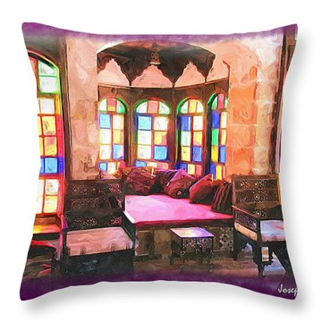 Throw Pillow featuring the photograph Do-00520 Emir Bachir Palace Interior-violet Bkgd by Digital Oil