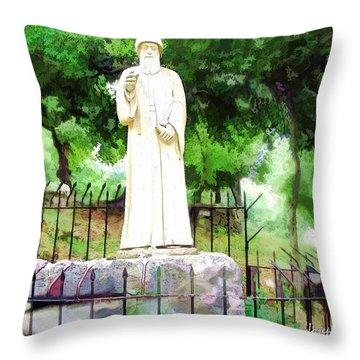 Do-00541 St Charbel Statue Throw Pillow