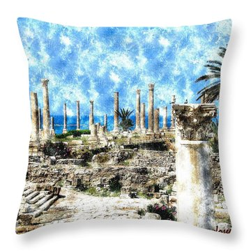 Throw Pillow featuring the photograph Do-00549 Ruins And Columns - Town Of Tyr by Digital Oil