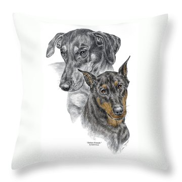 Throw Pillow featuring the drawing Dober-friends - Doberman Pinscher Portrait Color Tinted by Kelli Swan