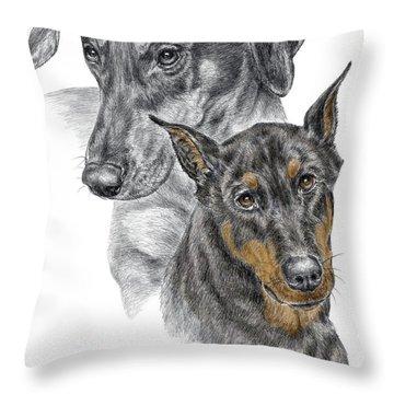 Dober-friends - Doberman Pinscher Portrait Color Tinted Throw Pillow