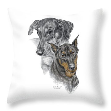 Dober-friends - Doberman Pinscher Portrait Color Tinted Throw Pillow
