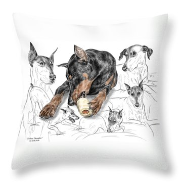 Throw Pillow featuring the drawing Dober-thoughts - Doberman Pinscher Montage Print Color Tinted by Kelli Swan