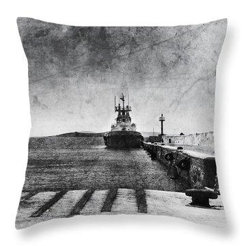 Dock In Mykonos Throw Pillow