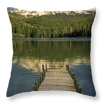 Dock On Mountain Lake Throw Pillow by Jill Battaglia
