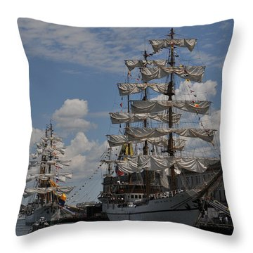 Docked At Fish Pier Throw Pillow by Mike Martin