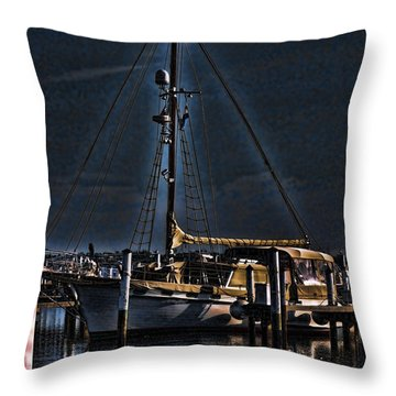 Docked For The Night Throw Pillow