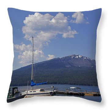 Docks At Diamond Lake Throw Pillow by Mick Anderson