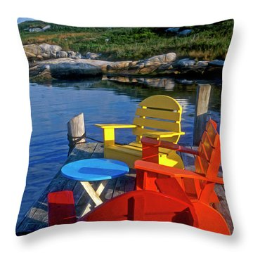 Dockside At Peggys Cove Throw Pillow by Dave Mills