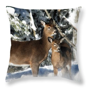 Throw Pillow featuring the photograph Doe A Deer by Nancy Dempsey