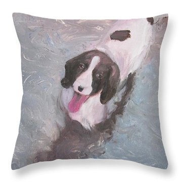 Dog In River Throw Pillow