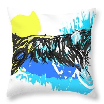Dog Running In Water Throw Pillow