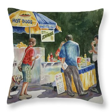 Dogs In The Park Throw Pillow by Roxanne Tobaison