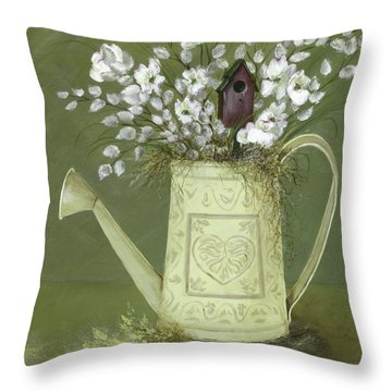 Throw Pillow featuring the painting Dogwood Cuttings  by Nancy Patterson