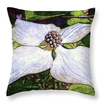 Dogwood Days Throw Pillow by Judi Bagwell