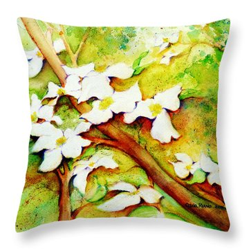 Dogwood Flowers Throw Pillow by Carla Parris