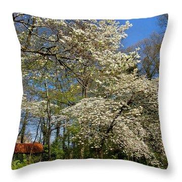 Dogwood Grove Throw Pillow by Debra and Dave Vanderlaan