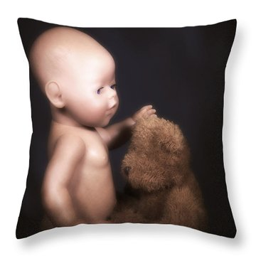 Doll And Bear Throw Pillow by Joana Kruse