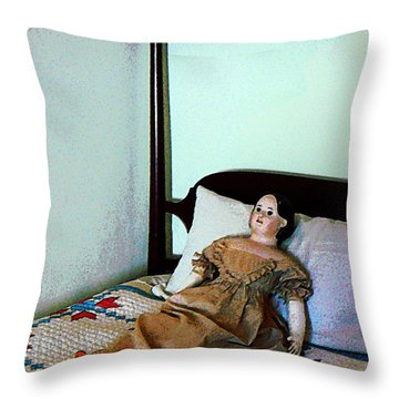 Doll On Four Poster Bed Throw Pillow by Susan Savad