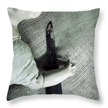 Doll With Knife Throw Pillow by Joana Kruse