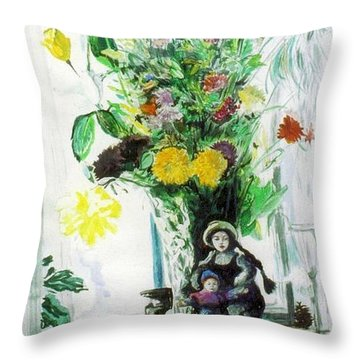 Dolls And Flowers Throw Pillow