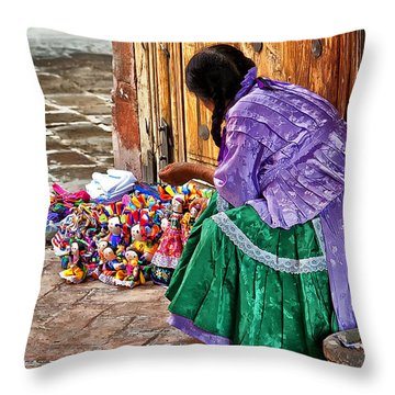 Dolls For Sale Throw Pillow by Javier Barras