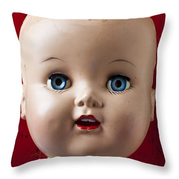 Dolls Haed Throw Pillow by Garry Gay
