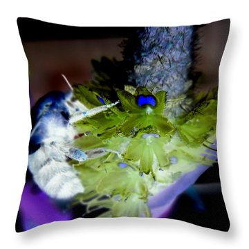 Don't Bee Blue Throw Pillow by Renee Trenholm