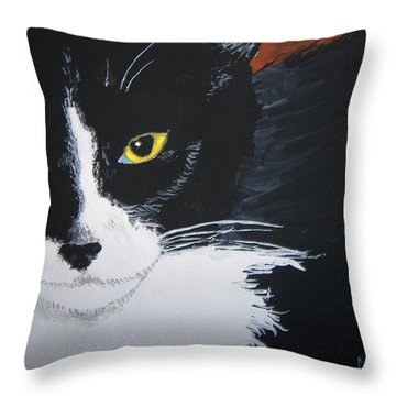 Throw Pillow featuring the painting Don't Bug Me by Norm Starks