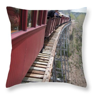 Don't Look Down Throw Pillow by Luke Moore