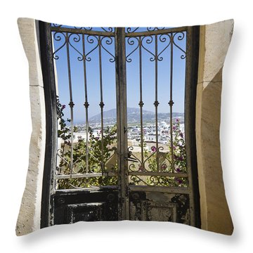 Doorway To Santorini Throw Pillow by Dennis Hedberg