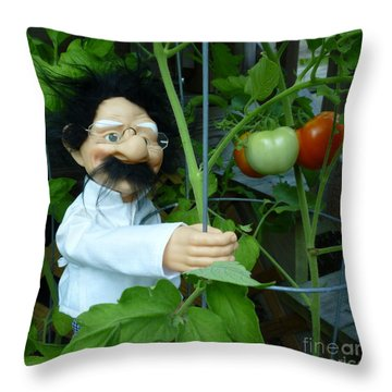 Throw Pillow featuring the photograph Dorf Chef Doll With Tomatoes by Renee Trenholm