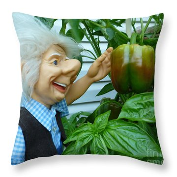 Throw Pillow featuring the photograph Dorf Grandpa Doll Picking Bell Peppers by Renee Trenholm