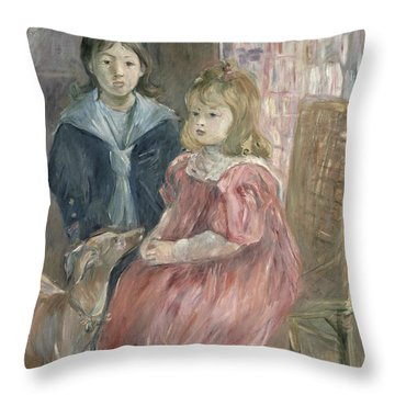Double Portrait Of Charley And Jeannie Thomas Throw Pillow by Berthe Morisot