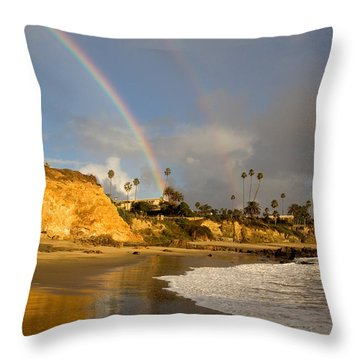 Double Raibow Over Laguna Beach Throw Pillow