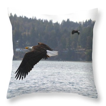 Double Trouble Eagles Throw Pillow by Kym Backland