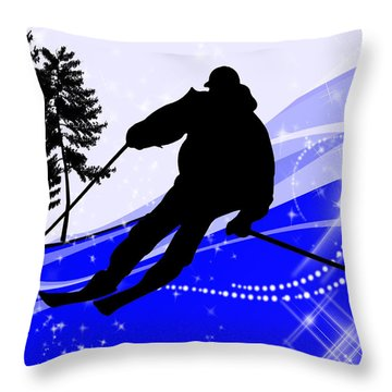 Downhill On The Ski Slope  Throw Pillow by Elaine Plesser
