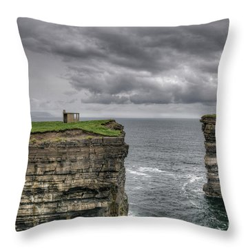 Downpatrick Head Lookout Tower Throw Pillow