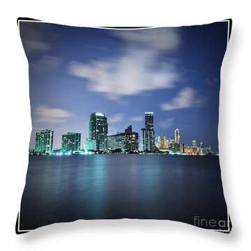Downtown Miami At Night Throw Pillow by Carsten Reisinger