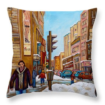 Downtown Montreal Paintings Throw Pillow by Carole Spandau