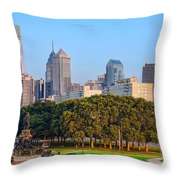 Downtown Philadelphia Skyline Throw Pillow by Olivier Le Queinec