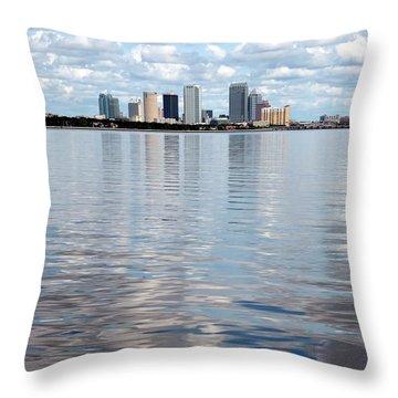 Downtown Tampa Over Hillsborough Bay Throw Pillow by Carol Groenen