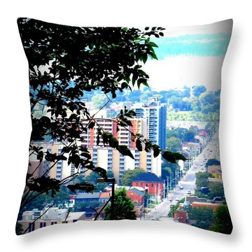 Throw Pillow featuring the photograph Downtown View From Hamilton Mountain  by Danielle  Parent